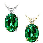 0.01 Carat TCW Diamond Oval Emerald Gemstone Pendant 14K White Yellow Gold