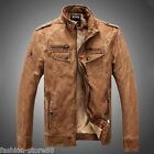 Motorcycle Jacket Men'S Washed Leather Pu-Leather Thick Casual Coats Tops