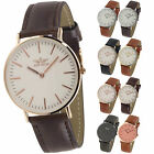 NEW Mens Slim Classic Watch by SOFTECH Faux Leather Rose Gold Silver Designer