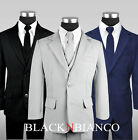Boys Modern Suit Complete Outfit with Tie, Vest, Shirt, Blazer and Pants