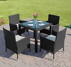 Black Rattan Garden Furniture Dining Table Set 4 Chairs Conservatory Patio
