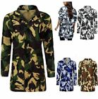 Ladies Womens Camouflage Festival Hooded Mac Outdoor Fishtail Parka Jacket Coat