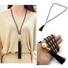 Leather Tassels Charm Beads  Pendant Long Chain Sweater Necklace Jewelry Womens