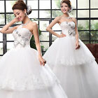 2015 New Cheap White Bow Organza Bridal Gown Strapless Wedding Dresses Size S-XL