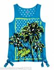 JUSTICE Girls Shirt Size 6 PALM TREE Sequin Side Tie Tank Top Blue Kid NEW