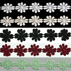 """Lily 7/8"""" White Ivory Black Burgundy Green Daisy Flower Venise Lace Trim by Yard"""