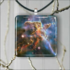 SPACE FAR AWAY STARRY CARINA NEBULA SQUARE PENDANT NECKLACE MEDIUM / LARGE -uh7Z