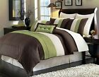 beige comforter sets - Luxury Stripe Full Size 8 Piece Black Grey and White Bedding Comforter  Set