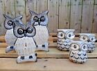 Fair Trade Hand Carved Made Wooden Owl Bird Carving Sculpture Ornament Set Of 3