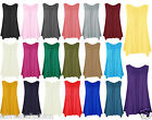 New Ladies Womens Scoop Neck Hanky hem Sleevess Top Vest Plus Size