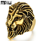 Quality TTstyle 316L Stainless Steel Lion Ring Gold Size 8-13 NEW