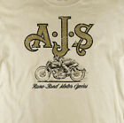 AJS British Motorcycles Classic Biker Distressed Print Natural T-Shirt