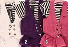 Girl's Two Tone Stripe White And Black Top skirt Butterfly Studded Design Short