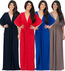 NEW Womens Long Kimono Sleeve Vneck Plus Size Cocktail Maxi Dress S M L XL 2X