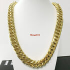 Heavy Mens Boys Top Stainless Steel 18K Gold Plated Curb Cuban Chain Necklace