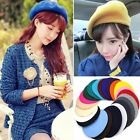 Fashion Women Winter Autumn Wool Blend Beret Cap Solid Color Warm Hat MultiColor