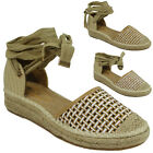 WOMENS LADIES SUMMER LOW FLAT HEEL ANKLE LACE UP ESPADRILLES SHOES SANDALS SIZE
