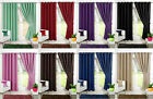 LUXURY FAUX SILK CURTAINS READY MADE EYELET MADE FULL DOUBLE LINING +2 TIE BACKS