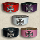Leather Iron Cross Wristband Punk Goth Biker Fetish New
