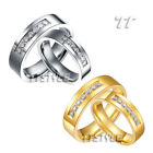 Geogous TTstyle S.Steel Eternity Wedding Band Ring Set For Couple Silver/Gold