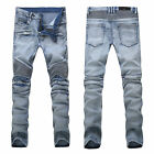 France Men Style Distressed Motorcycle Pants Light Blue Biker JEANS (917) 28-38