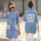 Women Lapel Preppy Style Washed Denim Jeans Coat Outwear Loose Jacket Outwear
