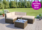 Brown Corner Modular Rattan Wicker Weave Garden Furniture Set Sofa FREE COVER