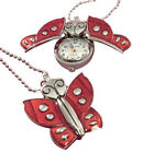 Custom engraved red butterfly pendant watch with gift pouch and box - K2-red