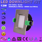 6X 13W SQUARE SATIN CHROME LED DOWNLIGHTS KITS DIMMABLE WARM/ COOL WHITE IP44