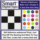 "6"" Tile transfer /stickers DECALS paks 10, 20,30 40,50, BATHROOM KITCHEN UTILITY"