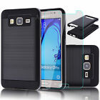 Black Hybrid Hard Case Cover + Tempered Glass Film For Samsung Galaxy On5 Phone