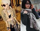 Gold/Grey Snake Graffiti Print Fashion Ladies Long Scarf Wrap Neck Trendy Summer