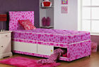 New 2'6ft or 3ft Pink Heart Damask Single Divan Bed Base ONLY + STORAGE