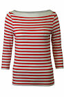 Ladies Womens Soft Jersey fine Knit Boat Neck Top Navy or Red stripe size 6-18