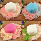 Kids Girls Children Straw Sun Hat Summer Beach Lace Flower Bowknot Bow Brim Cap
