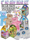 "SET OF FIVE 5 X 8"" NO SEW / Build your own Plush Bear Kit - KIDS PARTY PACK"