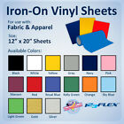 """IRON-ON Heat Transfer Vinyl For Fabric: 3 sheets 12"""" x 20"""" Sheet for ALL Cutters"""