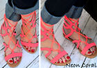 New! Women Gladiator Strappy Flat Ankle Sandals Open Toe Shoes Neon Coral