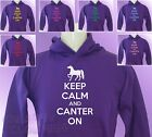 Purple Hoodie KEEP CALM and CANTER ON Horse Riding girls womens Pony Ride hoody