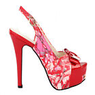 Fab Red Floral Bow PeepToe Slingback Stiletto Platform EVE Pump 4/5/6/7/8/9/10