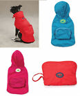 "Stowaway Raincoat Dog rain coat jacket w hood polyester pet apparel Red XXS 8""L"