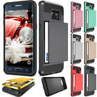 Hard Armor Case Cover With Slide Card Slot Holder For iPhone 6s 7 Samsung Galaxy