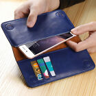 Universal Real Leather Case Card Slots Wallet Cover For 4'' to 5.5'' Smartphone