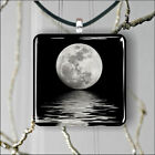 Full moon magical sea reflection SQUARE PENDANTS NECKLACE MEDIUM OR LARGE -cf4e