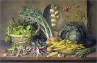 Poster / Leinwandbild Garlic and radishes and a peacock buttef... - A. Kleiser