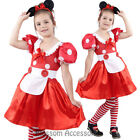 CSW37 Red Minnie Mouse Book Week Fancy Polka Dots Dress Girls Kid Costume Outfit