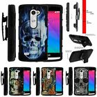 For LG Power | Destiny | Risio Rugged Holster Clip Stand Case Blue Flame Skull