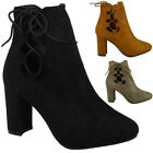 Kyпить SALE LADIES WOMENS CHUNKY HIGH BLOCK HEEL LACE UP CUTOUT ANKLE BOOTS SHOES SIZE на еВаy.соm