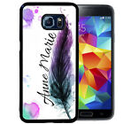 PERSONALIZED RUBBER CASE FOR SAMSUNG S4 S5 S6 S7 EDGE PLUS FEATHER WATERCOLOR