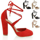 Womens Lace Up Block Heel Ankle Ladies Tie Wrpa Strappy Court Shoes Sandals
